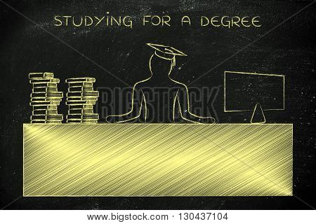 Graduate Person Sitting At Desk, Studying For A Degree