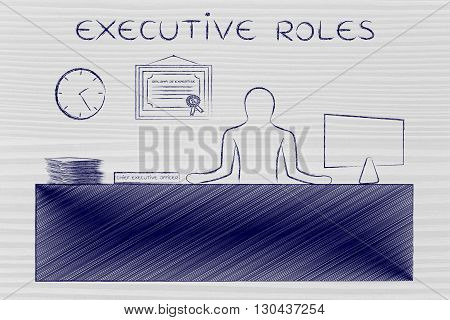 Ceo Sitting At Desk Working, Caption Executive Roles