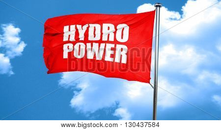 hydro power, 3D rendering, a red waving flag