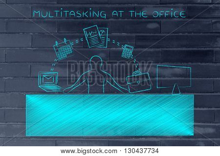 Business Man Juggling Tasks At The Office, Multitasking At The Office