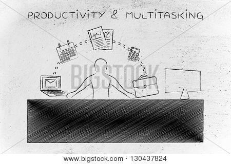 Business Man Juggling Tasks At The Office, Productivity & Multitasking