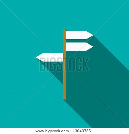 Road signs icon in flat style on green background