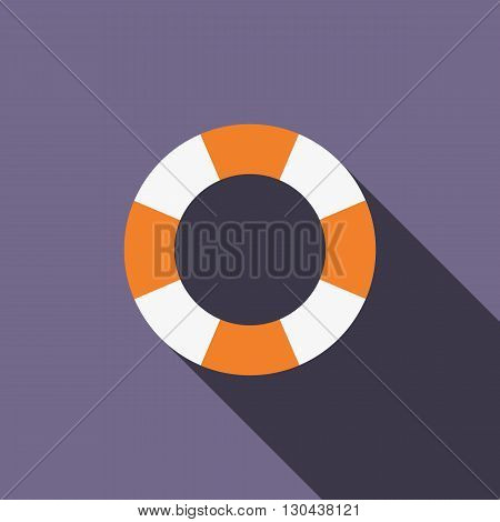 Stripped lifebuoy icon in flat style on purple background
