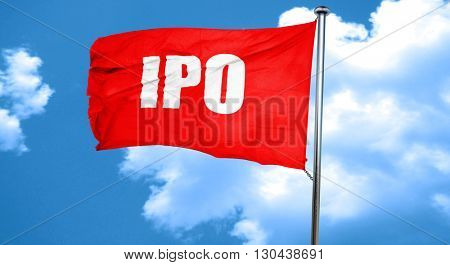 ipo, 3D rendering, a red waving flag
