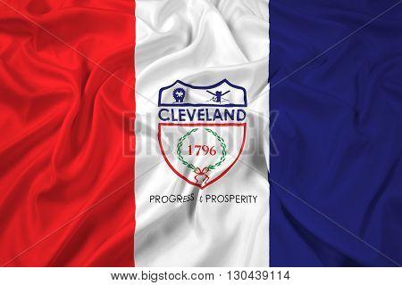 Waving Flag of Cleveland Ohio, with beautiful satin background