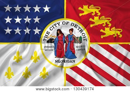 Waving Flag of Detroit Michigan, with beautiful satin background