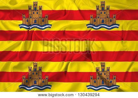 Waving Flag of Ibiza, with beautiful satin background