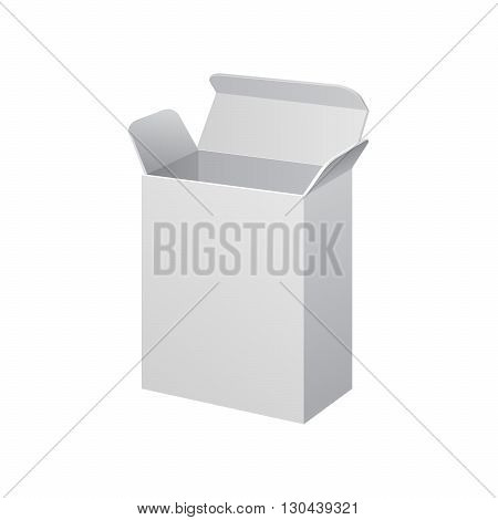 White Cardboard, Carton Package Box Open On White Background Isolated. Mock Up Template Ready For Your Design. Product Packing Vector EPS10
