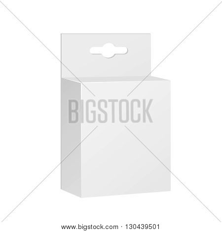 White Product Package Box With Hang Slot. Blank On White Background Isolated. Mock Up Template Ready For Your Design. Product Packing Vector EPS10