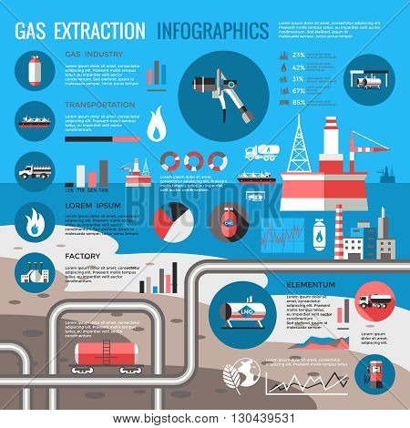 Gas extraction infographics with pipeline platform pump truck tank diagrams graphs statistics on sea background vector illustration