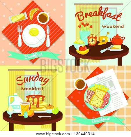 Four square colored breakfast flat icon set with descriptions of breakfast weekend Sunday breakfast and food on the table vector illustration