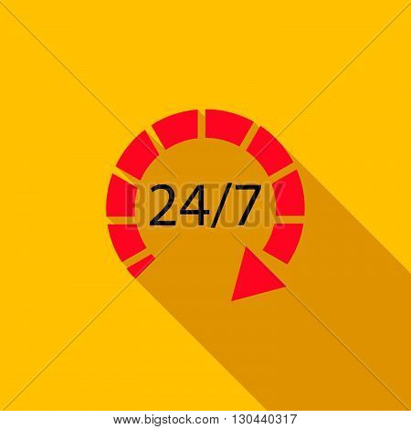 24 hours customer support service icon in flat style on a yellow background