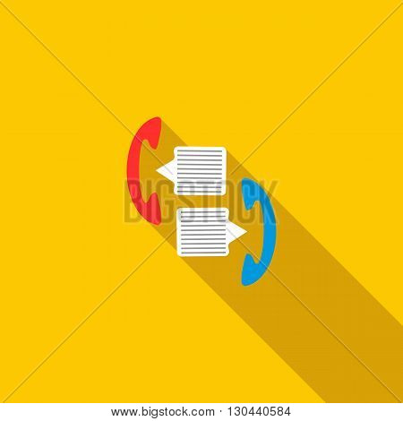 Handsets with speech bubbles icon in flat style on a yellow background