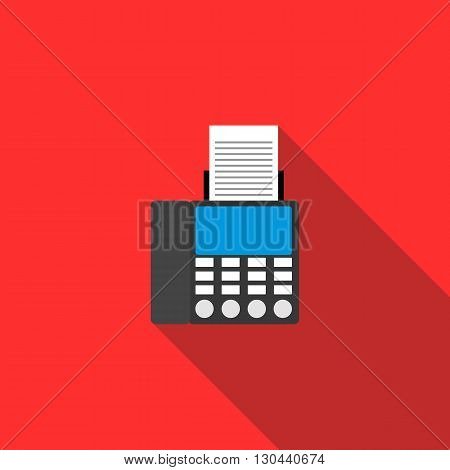 Fax icon in flat style on a red background