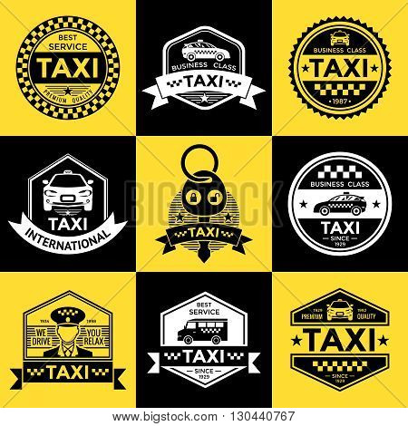 Taxi retro style labels with driver vehicle checkerboard pattern on yellow and black backgrounds  isolated vector illustration