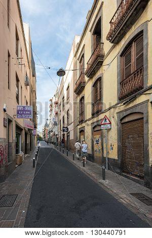 SANTA CRUZ, TENERIFE, SPAIN - DECEMBER, 2015: Downtown street in Santa Cruz, capital of Tenerife