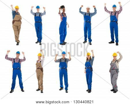 Collage Of Happy Construction Workers Raising Arms Against White Background