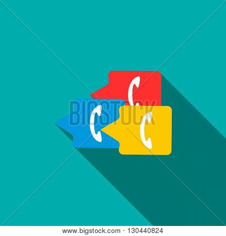 Phone handsets in bubble speeches icon in flat style on a blue background