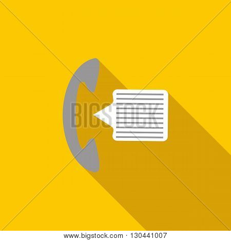 Phone handset and speech bubble icon in flat style on a yellow background