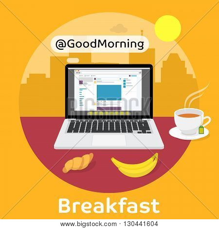 Reading the morning news from a laptop screen. Modern breakfast with coffee, croissant and fruit. Vector illustration on the background of megalopolis