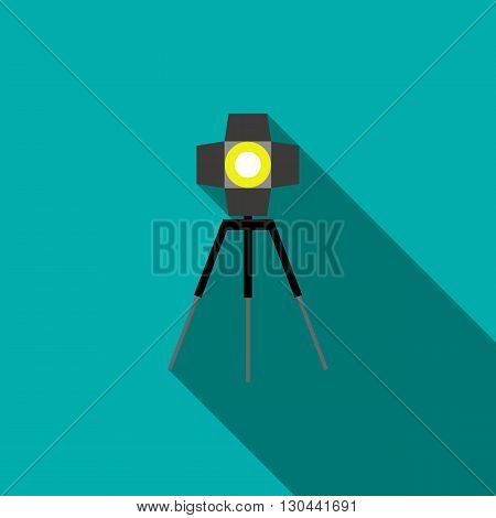Studio lighting icon in flat style on a blue background