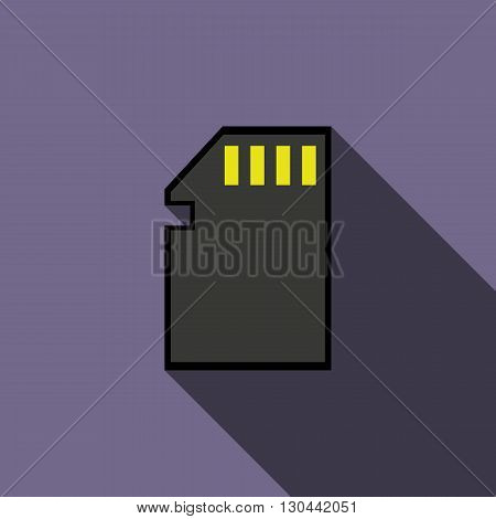 SD memory card icon in flat style on a violet background