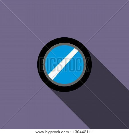 Interchangeable camera lens icon in flat style on a violet background