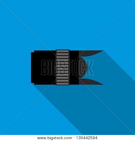 Interchangeable lens digital camera icon in flat style on a blue background