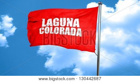 Laguna colorada, 3D rendering, a red waving flag