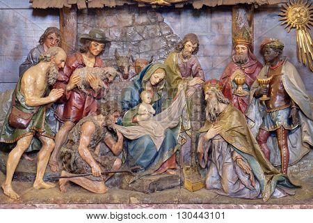 STITAR, CROATIA - NOVEMBER 24: Nativity Scene, altarpiece in the church of Saint Matthew in Stitar, Croatia on November 24, 2015