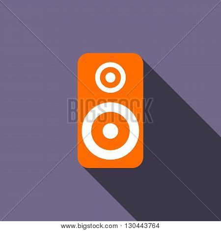 Music speaker icon in flat style on a violet background