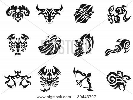 Zodiac signs sets illustration. Illustration without transparency. Black tattoo. Set of tribal tattoo. Line tribal tattoo.