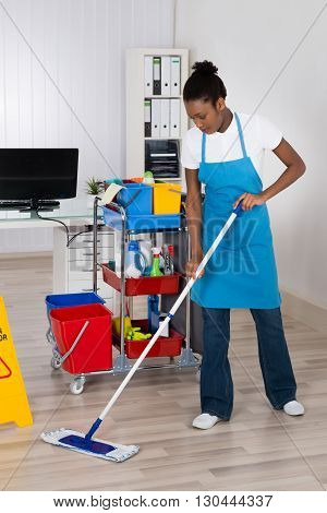 Female Janitor With Cleaning Equipments Mopping Hardwood Floor In Office