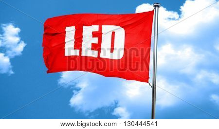 led, 3D rendering, a red waving flag