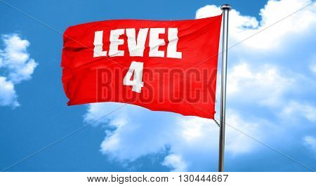 level 4, 3D rendering, a red waving flag