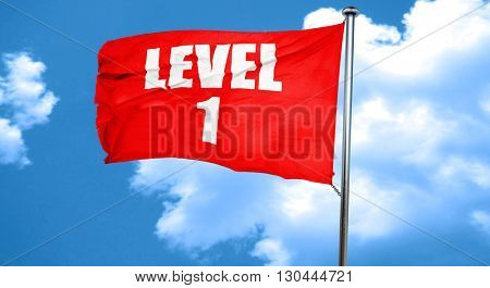 level 1, 3D rendering, a red waving flag