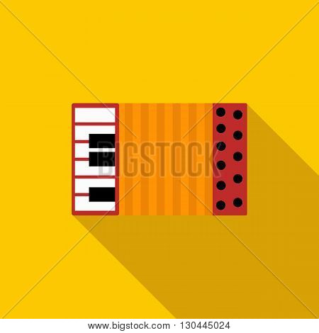 Accordion icon in flat style on a yellow background