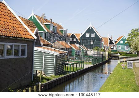 Old Fishing Green Cottages On The Island Of Marken