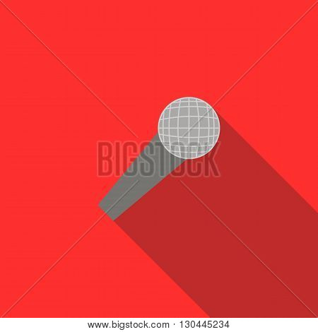 Wireless microphone icon in flat style on a red background