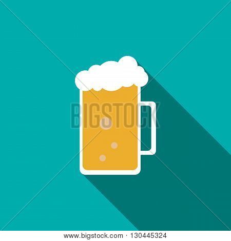 Glass mug of beer icon in flat style with long shadow