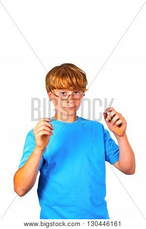 intelligent boy in blue shirt with glasses