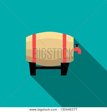 Wooden beer barrel icon in flat style with long shadow