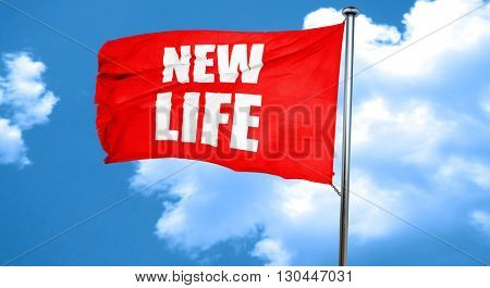 new life, 3D rendering, a red waving flag