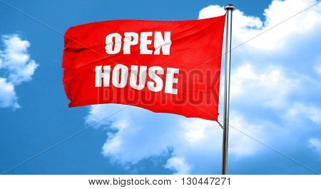 Open house sign, 3D rendering, a red waving flag