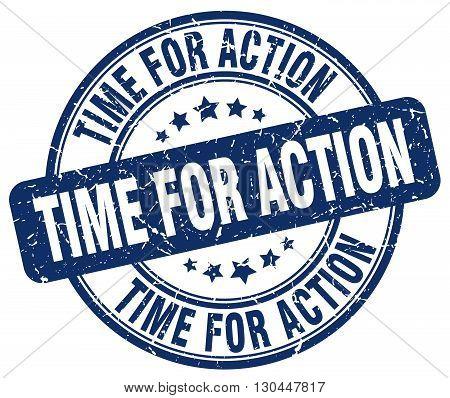time for action blue grunge round vintage rubber stamp