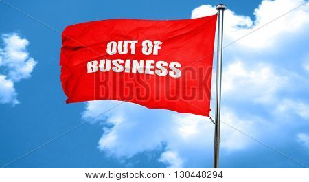 Out of business background, 3D rendering, a red waving flag