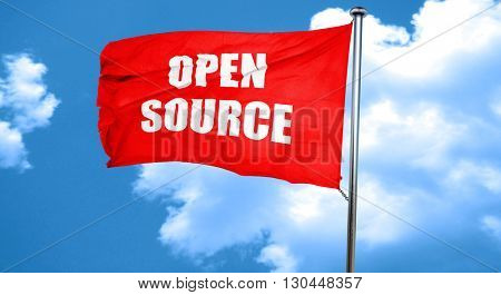 open source, 3D rendering, a red waving flag