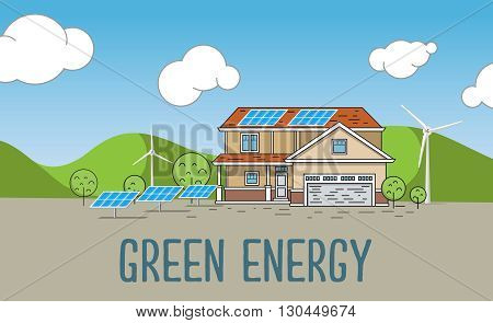 Flat Designed Banners Concept of  Eco energy an Eco friendly house. Creative Work Flow Items and Elements. Green energy, urban landscape, ecology. flat design vector concept illustration.