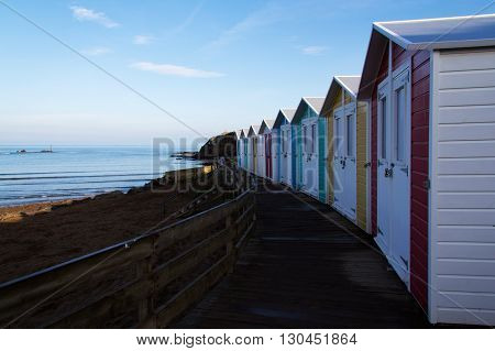 Beach Huts At Dawn By The Beach At Bude, Cornwall