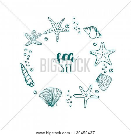 Sea shell background. Hand drawn sea elements shells, stars and corals in a circle shape frame